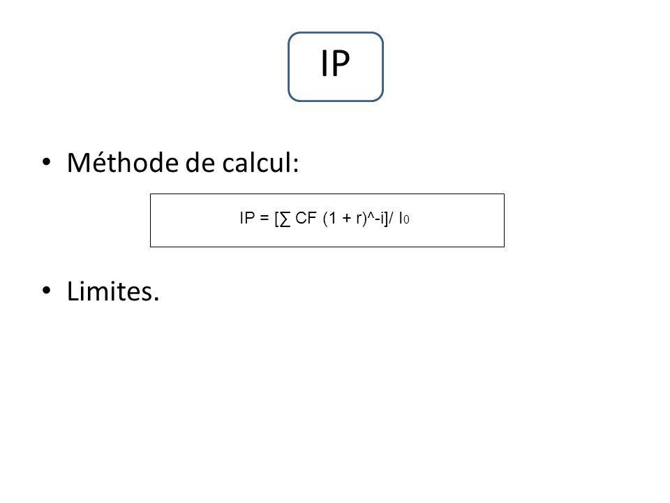 IP Méthode de calcul: Limites. IP = [∑ CF (1 + r)^-i]/ I0